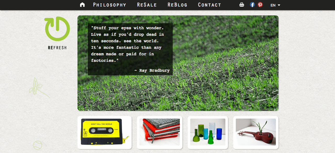Screenshot of the RRREFRESH Website